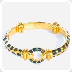VTG ST John Gold/Green Inlay Stone Bangle Bracelet